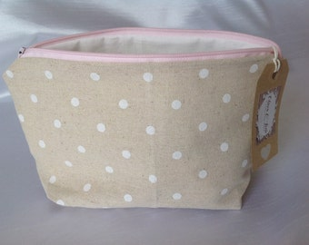 White spotted makeup bag