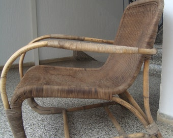 Bamboo and Rattan armchair in Erich Dieckmann style