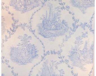 Baby Blue on White Cotton Toile de Jouy Fabric