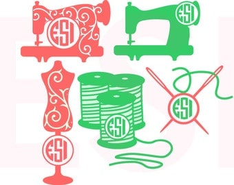 Sewing SVG, DXF, EPS, Circle monogram frames, Vinyl cutting files for use with Silhouette Studio and Cricut Design Space.