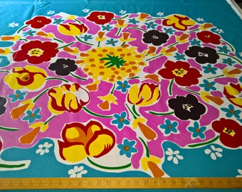 "Marimekko FLORESTAN Oil Cloth Fabric Maija Isola 1976 Design One Repeat 51""!"