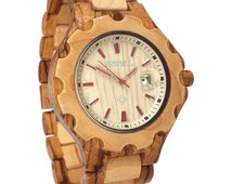 Zebra and Maple Wood Handmade Wooden Wrist Watch with Calendar Water resistant