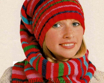 1970s Balaclava Helmet and Gloves ... Ladies Knitted