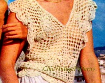 Vintage Crochet Summer Top Pattern ... Ladies Lacy Ruffled Top ... PDF Crochet Pattern ... Party, Casual .. Instant Download ... Very Pretty