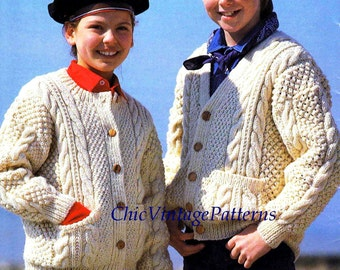 Knitted Aran Children's Cardigan ... Warm Aran Cardigan ... Round or V-Neck Collar ... PDf Knitting Pattern ... Fisherman Cable Pattern