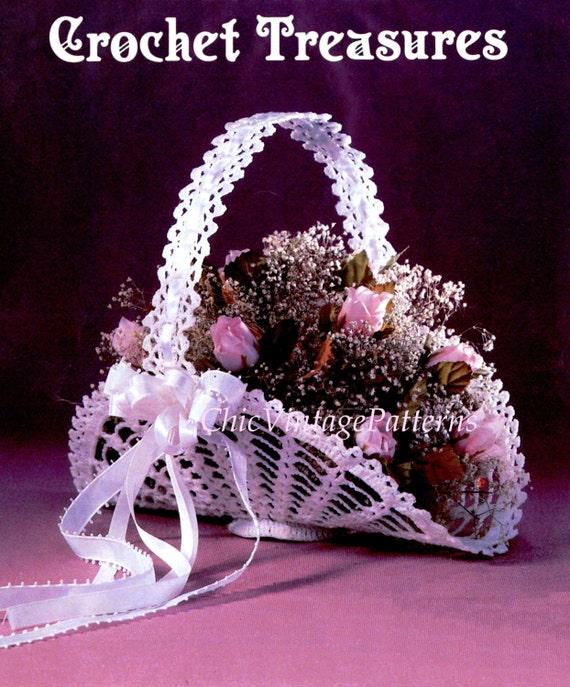 Crochet Flower Girl Basket Pattern : Crochet flower girl basket pdf pattern gift wedding