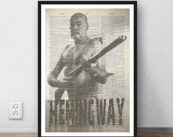 Ernest Hemingway - Hemingway art page print