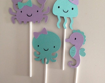 12 Girly Under The Sea Cupcake Toppers | Mermaid Cupcake Toppers | Lavender and Aqua Cupcake Toppers | Crab Sea Horse Octopus Jellyfish