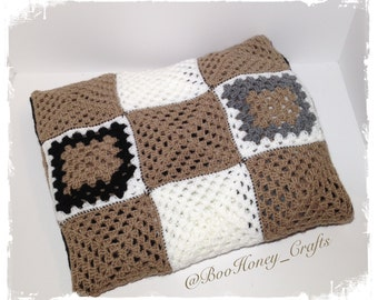 Crochet Light Brown, Black, White and Grey Granny Rectangle