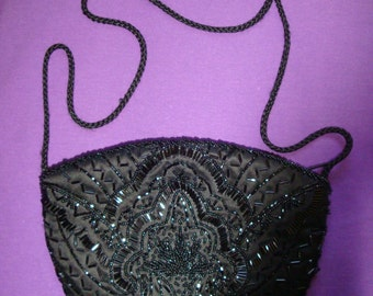 Vintage Ladies Black Small Beaded Evening Cluch purse handbag