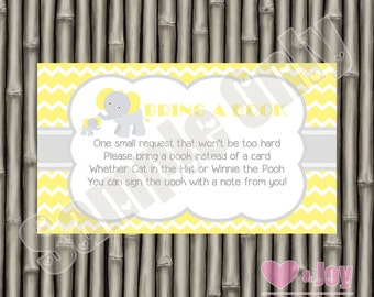 Elephant, Yellow, Grey, Baby Shower Book Request, Book Request Insert Card, Book Request Card, Baby Shower, PRINTABLE