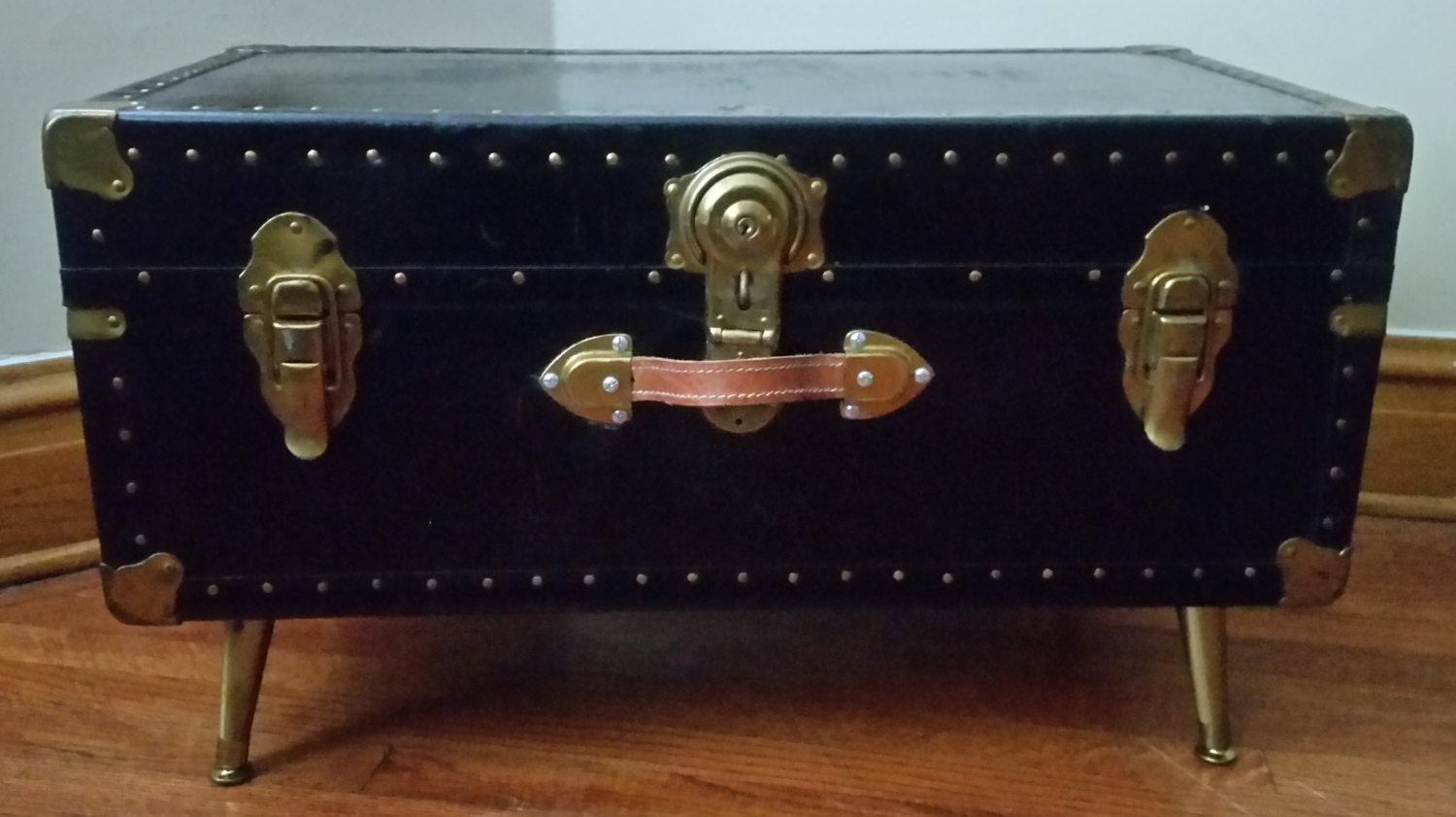 Vintage steamer trunk coffee table haute juice - Antique trunk coffee table ...