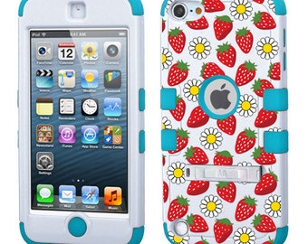 Strawberries With Daisies For iPod 5th Generation, 6th Generation TUFF Hybrid Phone Protector Cover (With Stand)