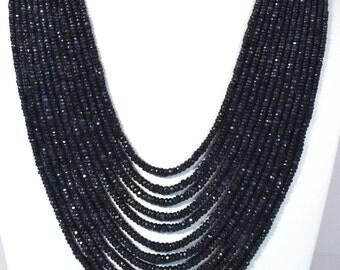 NATURAL BLUE SAPHIRE precious gem stone beads necklace
