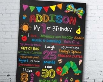 DIGITAL FILE Very Hungry Caterpillar Birthday Chalkboard - Very Hungry Caterpillar Chalkboard Sign - Very Hungry Caterpillar First Birthday