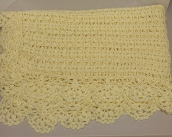 Vintage Hand-Made, Crocheted Yellow Baby Blanket Afghan (#2141)
