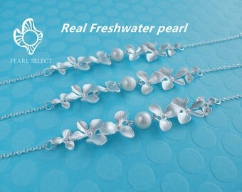 bridesmaid gift,Orchid bracelet,pearl bracelet,bridesmaid gift,wedding jewelry,orchid pearl bracelet,pearl orchid bracelet