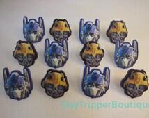 24 TRANSFORMERS Optimus Prime Bumble Bee Cupcake Ring Favor Supplies Rings Topper Birthday B