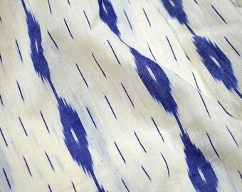 Blue Ikat Fabric Handloom Cotton Fabric, Indian Fabric, Cotton Fabric By the Yard Home Furnishing Fabric / Home Decor / Cushion Covers