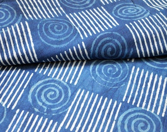 Quilting Cotton Fabric Hand Printed Indigo Fabric - Vegetable dyed Cotton - Hand Stamped Indigo Fabric Sold by Yard