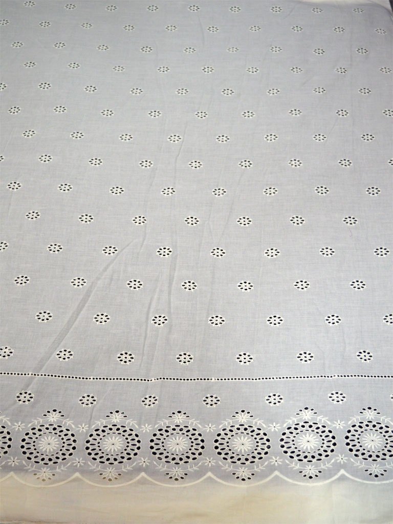 Extra wide ivory eyelet embroidered cotton fabric by the yard