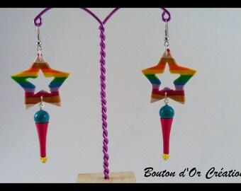 Rainbow star earrings.