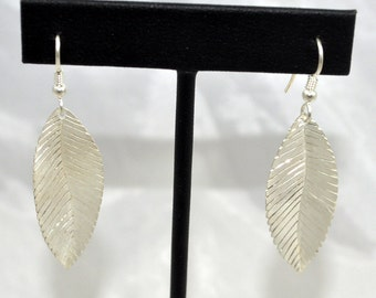 Sterling Silver Leaf Dangles, Handmade! One of a Kind