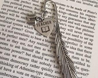 Teacher feather bookmark