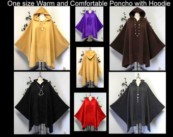 Versatile Travelers Full Size Poncho, Hooded Poncho, hooded cape, Plus Size Poncho in warm and cozy Fleece fabric fits up to 5xl