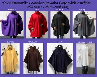 Ultimate Travelers Full Size Plus Size Poncho, Fleece Cape for Everyone. Warm, Soft, Comfortable, Stylish with Muffler. 12 colors