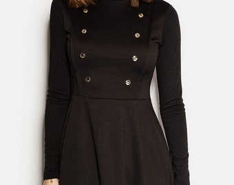 Black Jersey Dress Cowl Neck Dress A-line dress women Little Black Dress LBD Long Sleeve Dress Black Mini Dress Casual dress Winter Dress