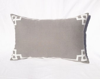 Pillow, Linen Grey, White Detail, Rectangular Decorative Pillow Case - Barbizon