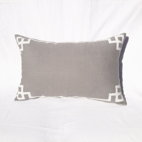 Grey Rectangular Decorative Pillows : Pillow Linen Grey White Detail Rectangular Decorative