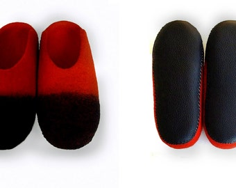 Wool felted slippers/Home wool shoes/Ladybird
