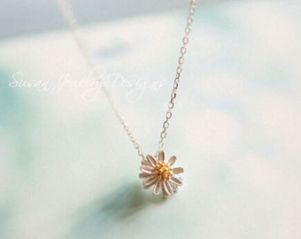 small daisy necklace, female clavicle chain, 925 sterling silver accessories
