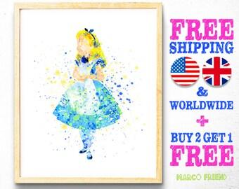 Disney Princess Alice in Wonderland Wall Art Watercolor Art Poster Print Home Decor Kids Decor Nursery decor [43]