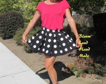 Minnie Mouse skirt Polka dot skirt linen skirt Mini skirt Skater skirt by BloomLand HandMade high waisted skirt