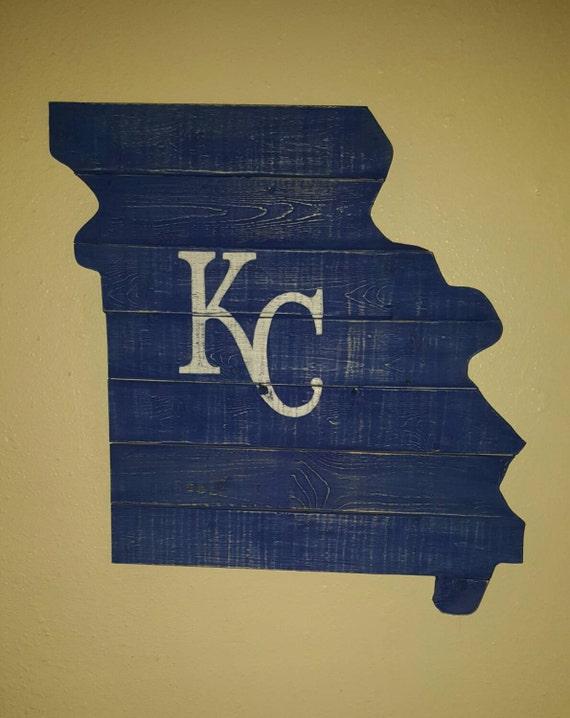 Reclaimed Wood Kansas City Royals Missouri Silhouette Wall - Reclaimed Wood Kansas City WB Designs