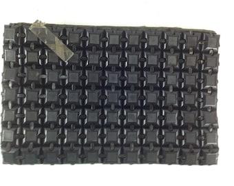 Vintage Black 40s Plasiflex Clutch Bag with Lucite Fob