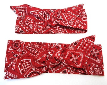 Red Paisley bandana Headwrap,Mommy n Me,Red Baby Headwrap,Baby Bandanna,Red Paisley knot headband, photo prop,Top knot,turban,headband