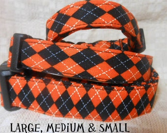 Dog Collar, Halloween Argyle dog collar, Fall, Autumn
