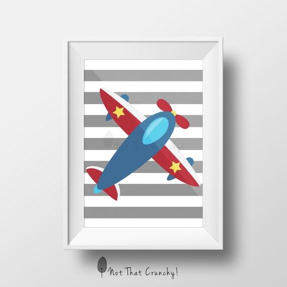 Airplane Wall Decor Nursery : Airplane nursery wall art by