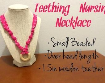 Nursing Teething Necklace - Pink