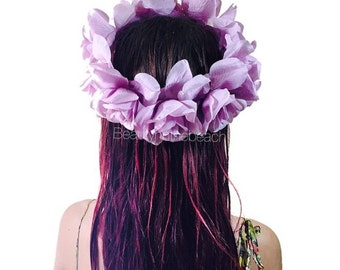 Lavender rose flower crown full head headband