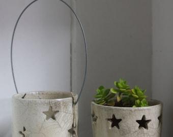 Set tealights and planter ceramic raku