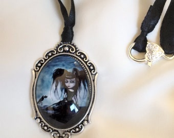 Necklace - Gothic Girl Necklace - Gothic Choker - Black Ribbon Necklace - Halloween Necklace - Gothic Necklace -