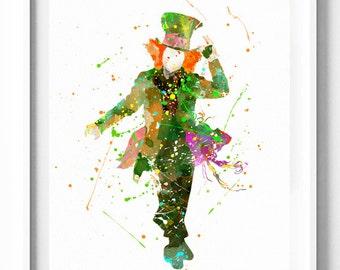 Alice in Wonderland Print, Mad Hatter Print, Disney Printable, Watercolor Art, Kids Decor, Baby Nursery Decor, Home Decor, Wall Art, Gifts