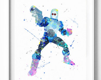 Mr. Freeze Prints, Batman Villain, DC Comics Printable, Watercolor Art, Kids Decor, Party Decor, Home Decor, Wall Art, Boys Birthday Gift