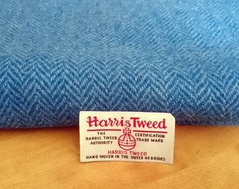 Harris Tweed Cloth Fabric Blue Herringbone Luxury Handwoven 100% Pure Virgin Wool handwoven in Outer Hebrides Scotland
