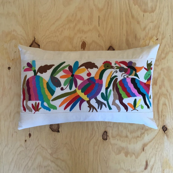 New boho kids lumbar pillow mexican fabric colorful by Mexican embroidered bedding